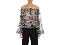 Saint Laurent Women's Leopard Print Silk Blouse Black