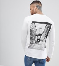 Brooklyn Supply Co. Co Skater Long Sleeve T Shirt With Back Print Wh1 White 1