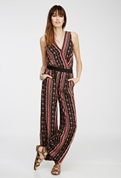 Forever 21 Tribal Print Surplice Jumpsuit Black Red