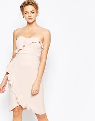 Elise Ryan Midi Pencil Dress With Frill Detail Nude Pink