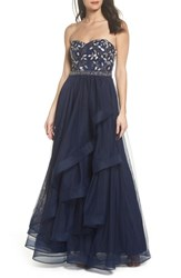 Sequin Hearts Strapless Lace And Tulle Gown Navy Champagne