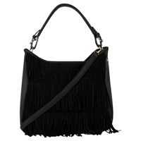 Oasis Henne Fringed Hobo Handbag Black