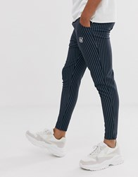 Sik Silk Siksilk Slim Cropped Trousers In Navy Pinstripe