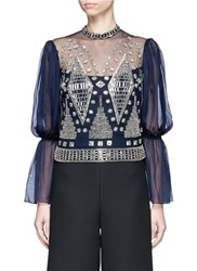 Temperley London Lantern Sleeve Beaded Sheer Mesh Blouse Blue