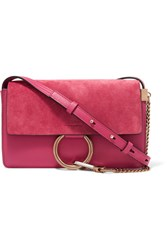Chloe Exclusive Faye Small Suede And Leather Shoulder Bag Pink