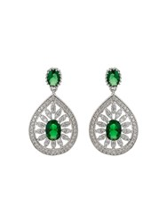 Mikey Filigree Cubic Drop Centre Earring Green