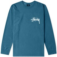 Stussy Long Sleeve Stock Pigment Dyed Tee Blue