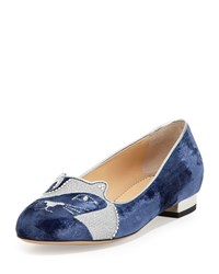 Charlotte Olympia King Kitty Velvet Loafer Dark Blue
