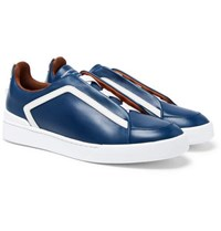 Ermenegildo Zegna Triple Stitch Leather Slip On Sneakers Navy
