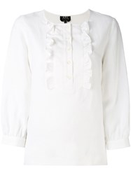A.P.C. Three Quarters Sleeve Ruffled Blouse Women Linen Flax Tencel 40 White