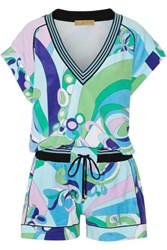 Emilio Pucci Printed Cotton Blend Terry Playsuit Turquoise