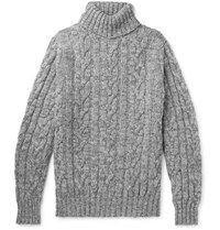 Kingsman Cable Knit Wool And Cashmere Blend Rollneck Sweater Gray