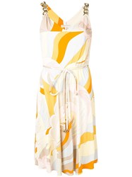 Emilio Pucci Abstract Print Belted Dress Orange