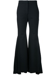 Sara Battaglia Pleated Flared Trousers Black