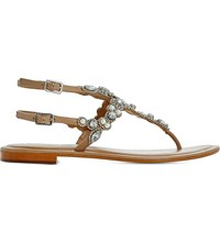 Dune Nuevo Embellished Leather Sandals Tan Leather