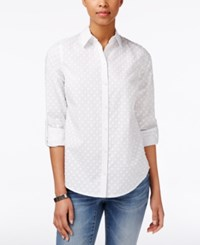 Charter Club Petite Textured Dot Shirt Only At Macy's Bright White