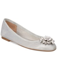 Badgley Mischka Bianca Embellished Evening Flats Women's Shoes Silver