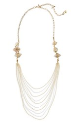 Nakamol Design Agate Layered Chain Necklace Light Grey