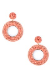 Sole Society Coasta Beaded Hoop Earrings Coral