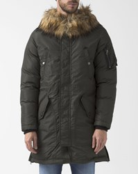Diesel Khaki W Asily Long Parka With Fur Lined Hood
