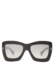 Tom Ford Eyewear Oversized Acetate Butterfly Sunglasses Black