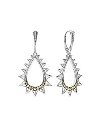 Lagos Ksl Silver And 18K Gold Spiked Pear Drop Earrings Yellow Gray