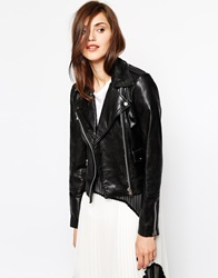 Mango Soft Leather Zip Biker Jacket Black