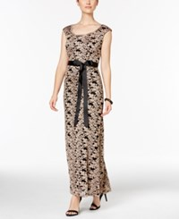 R And M Richards Lace Belted Gown Black Gold