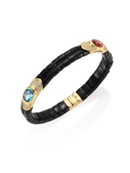 Marina B Yves Diamond Black Jade Pink Tourmaline Blue Topaz And 18K Yellow Gold Bangle Bracelet