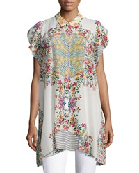 Johnny Was Modelo Flutter Sleeve Printed Top Multi