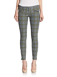 Current Elliott Soho Stiletto Plaid Skinny Jeans Highlander
