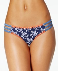 Jessica Simpson Vine About It Embroidered Strappy Hipster Bikini Bottoms Women's Swimsuit Navy