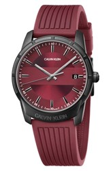 Calvin Klein Evidence Silicone Band Watch 42Mm Red Black
