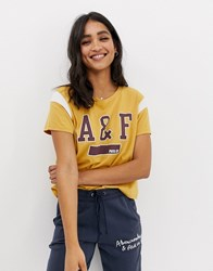 Abercrombie And Fitch Logo Ringer Tshirt Amber Gold