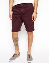 Asos Chino Shorts In Longer Length Purple