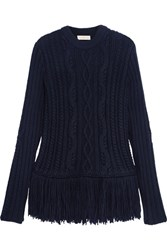 Tory Burch Valero Fringed Cable Knit Wool Blend Sweater Navy