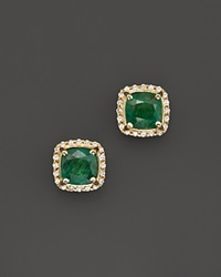 Bloomingdale's Emerald And Diamond Stud Earrings In 14K Yellow Gold Gold Green