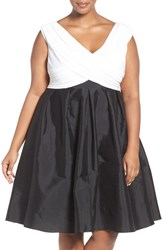 Adrianna Papell Plus Size Women's Two Tone Mixed Media Fit And Flare Dress Black Ivory