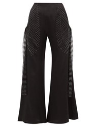 Romance Was Born Crystal Net Trim Silk Charmeuse Flared Trousers Black