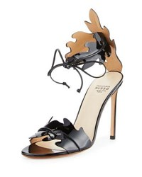 Francesco Russo Leaf Cut Leather Ankle Tie Sandal White