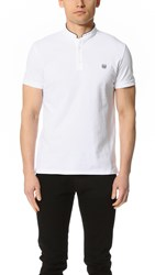The Kooples Polo Shirt With Embroidered Stand Up Collar White