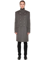 Balmain Double Breasted Cashmere And Wool Coat Grey