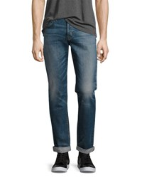 Hudson Blake Double Cuff Slim Straight Jeans Blue Withstand