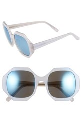 Women's Elizabeth And James 'Lane' 54Mm Sunglasses Pearl White Blue Mirror Lens