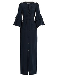 Raquel Diniz Army Ruffled Sleeve Silk Georgette Dress Navy