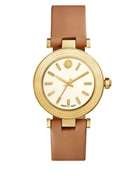 Tory Burch Classic Round Leather Strap Watch Brown