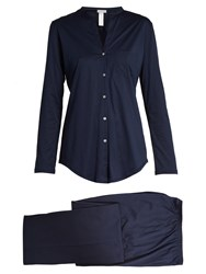 Hanro Relaxed Fit Cotton Pyjama Set Navy