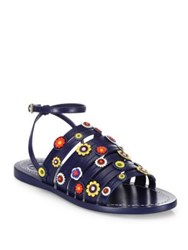 Tory Burch Marguerite Floral Leather Flat Ankle Strap Sandals Navy Sea