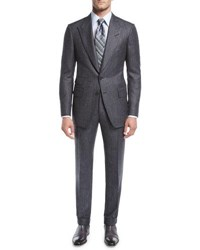 Tom Ford Shelton Base Salt And Pepper Wool Silk Two Piece Suit Gray