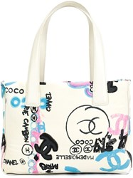 Chanel Vintage Graffiti Canvas Tote White